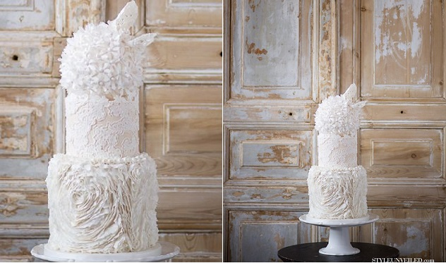 wedding dress inspired cake by The Rooney Girl Bake Shop via Style Unveiled