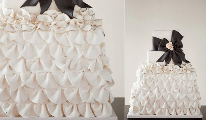 wedding dress inspired cake ruffle skirt black low by The Wild Orchid Cake Company