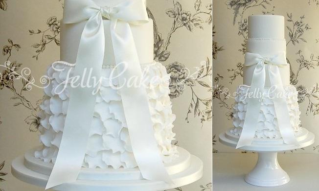wedding dress inspired cake ruffle wedding cake by Jelly Cake UK