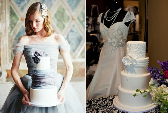 wedding dress inspired cakes by Lael Cakes left and by Intricate Icings right