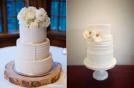 wedding dress inspired cakes by Sweet and Swanky Cakes left with Byron Roe Photography and by The Flour Girl, Australia right