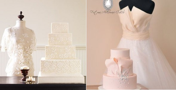 wedding dress inspired cakes via Martha Stewart Wedding left and by Fatma Alkuwari right