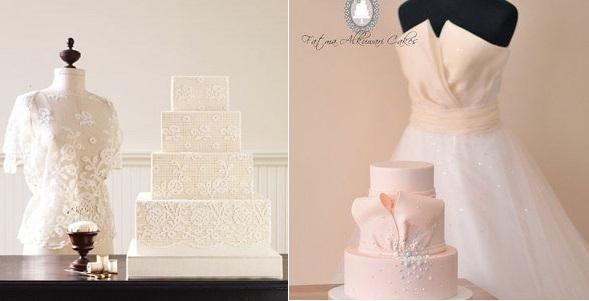 Wedding Dress Inspired Cakes