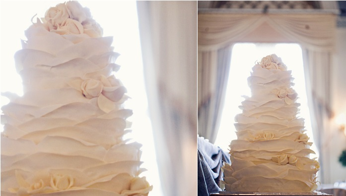 white chocolate ruffle wedding cake by The Art of Cake, Katch Studios Photography