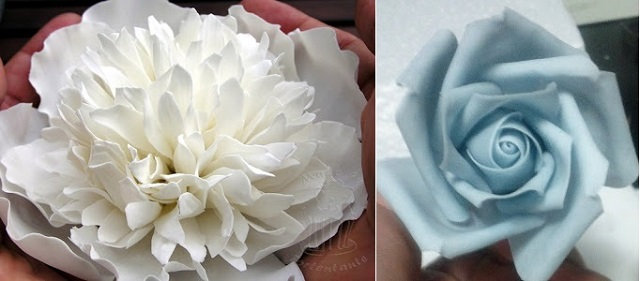 white peony rose tutorial sugar flower tutorial from TortenTante left and blue rose tutorial from The Neurotic Baker