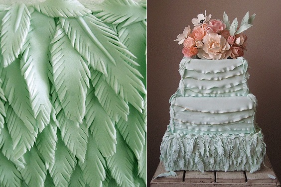 Mint wedding cake fondant feathers by Megan Joy Cakes