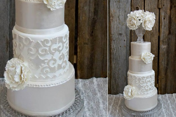 Pedestal vase wedding cake by Melissa L'Abbe Cake Design