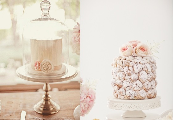 afternoon tea cake from The Layered Bake Shop, N Barrett Photo left and croquembouche right