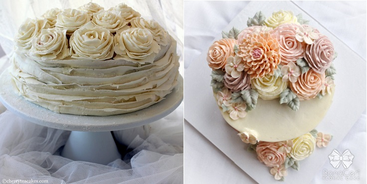 afternoon tea cakes by Cherry Tea Cakes left and Bona Ceri Floral Cakes right