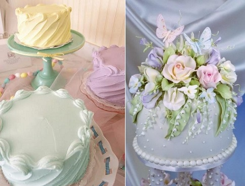 afternoon tea cakes from The Magnolia Bakery left and via Indulgy right