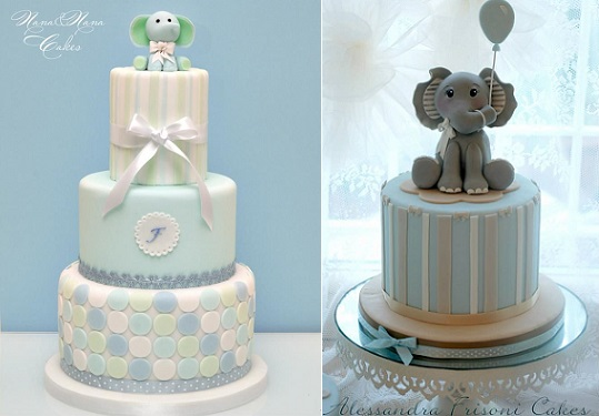 baby elephant cakes by Nana E Nana Cakes left and Alessandra Frissoni right