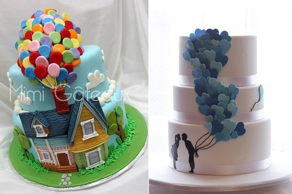 balloon cakes by Mimi Gateaux left and by Jessie Lee Cakes right