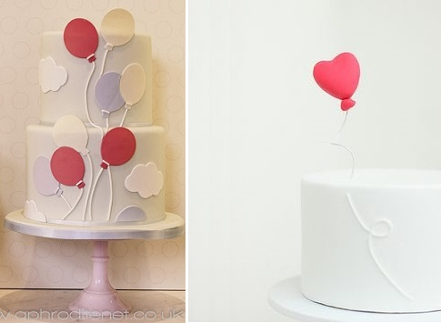 balloon cakes by Peggy Porschen left and by Hello Naomi right