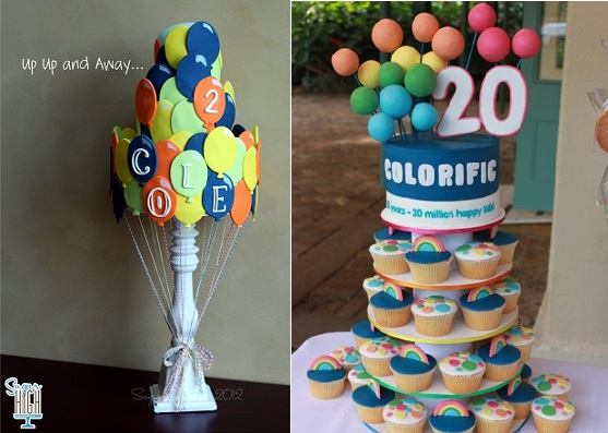 balloon cakes by Sugar High left and Sharon Wee Creations right
