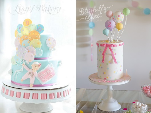 balloon cakes from Lyon's Bakery left and Blissfully Sweet Cakes right