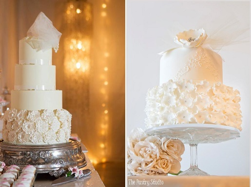 birdcage veil wedding cakes with tulle by Kanya Hunt left and The Pastry Studio right