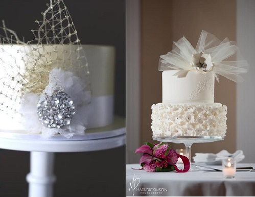 birdcage veil wedding cakes with tulle