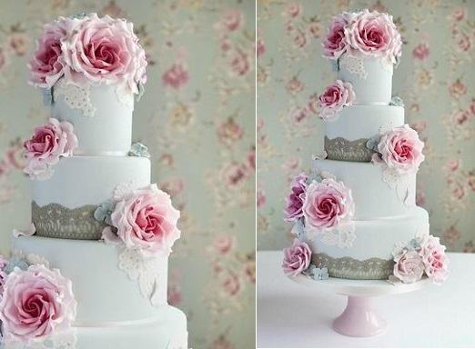 blue wedding cake with lace and pink vintage roses by Cotton & Crumbs