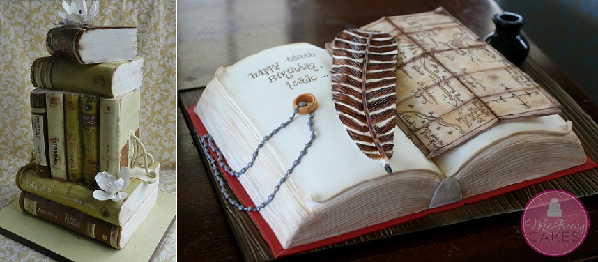 book cakes by The Cake Whisperer left and by McGreevy Cakes right