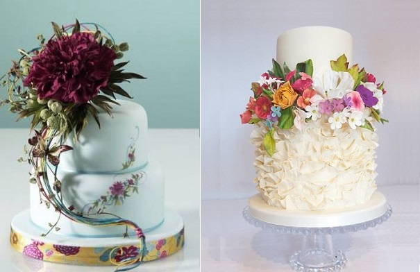 botanical wedding cakes by Alan Dunn Sugarcraft left and Cakes by Krishanthi right