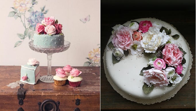 elegant afternoon tea cakes by  Amy Swan right and via Pinterest left