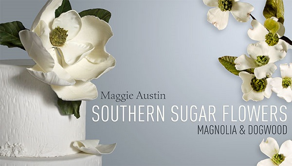 gumpaste magnolia tutorial and dogwood rose tutorial by Maggie Austin on Craftsy