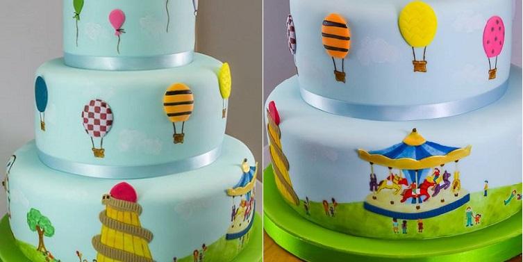 hot air balloon cake carnival cake by Amanda MacLeod