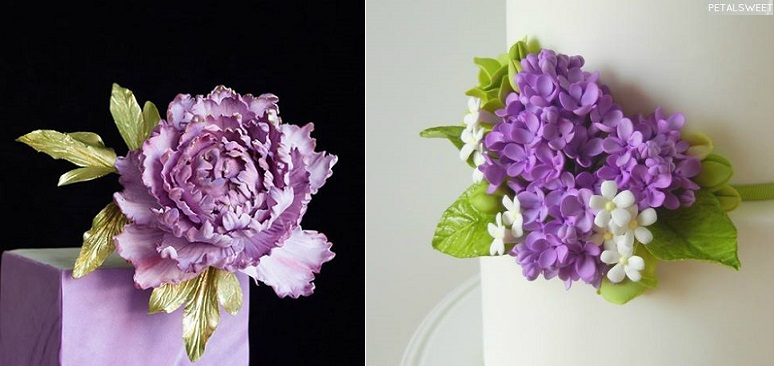 lilac sugar flowers by PetalSweet right and sugar peony left by Lina Veber Cake
