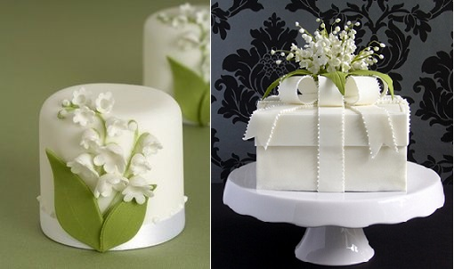 lily of the valley gift box cake by Pamela McCaffrey Made With Love Cakes right and via Pinterest left