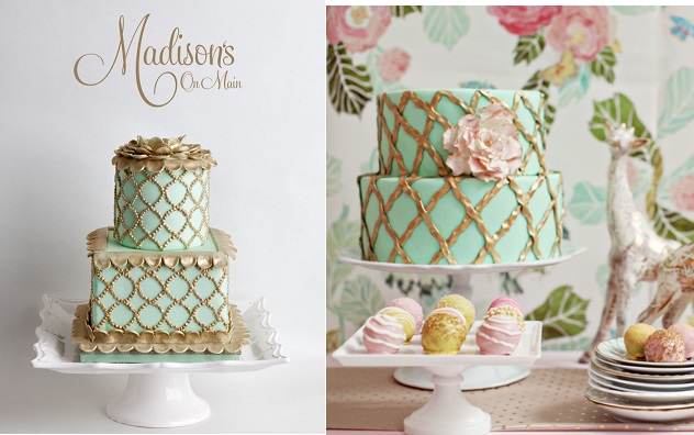 mint and gold lattice wedding cakes from Madisons on Main left and Anna Elizabeth Designs right, Allison Conklin Photography