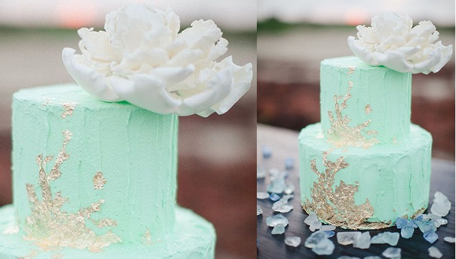 mint and gold wedding cake Awake Photography via Green Wedding Shoes