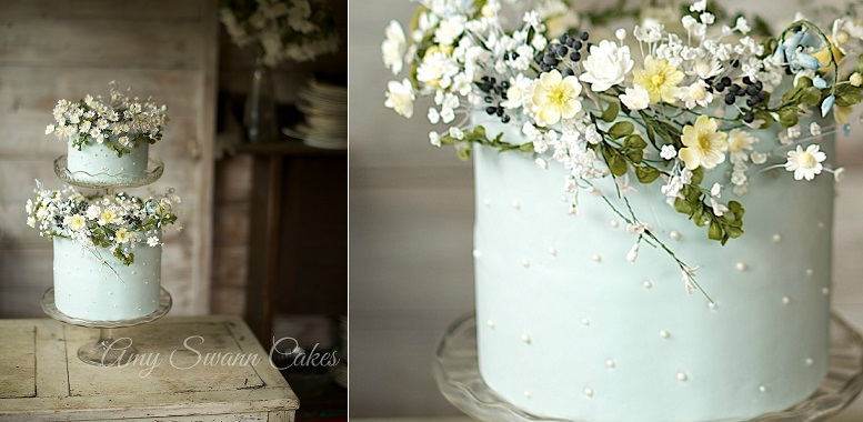 mint floral wedding cake botanical style by Amy Swann Cakes, Kelvin Childs Photography