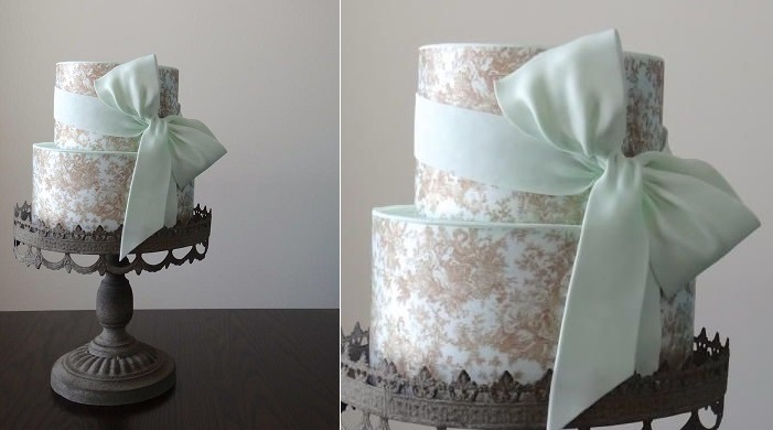 mint wedding cake by Cake Heart Custom Cakes