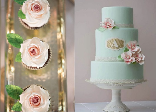 mint wedding cake by Erica O'Briend left, cupcakes right by Sugar Boy Ed via Burnett's Boards