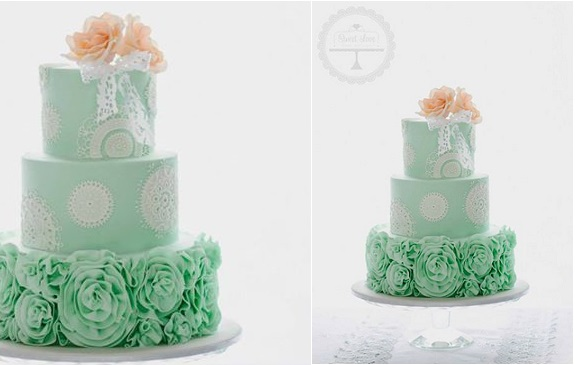 mint wedding cake with doile lace by Sweet Love Cake Couture, Australia