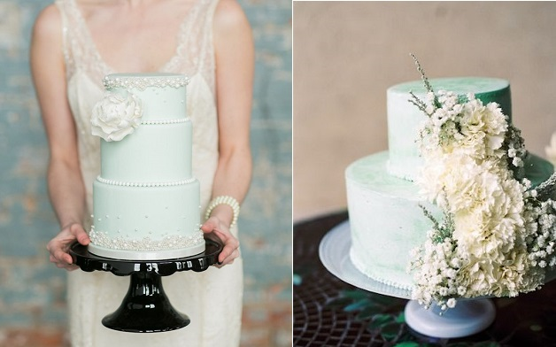 mint wedding cakes by Lisa Galuppo Cakes left via Style Me Pretty, J'ador Love Photography and via Donna Morgan right