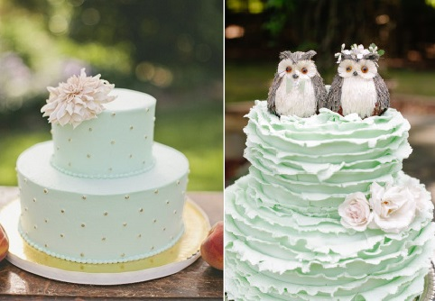 mint wedding cakes via Wedding Chicks left and via Style Me Pretty right