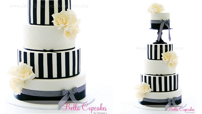 pedestal cake black and white by Bella Cupcakes
