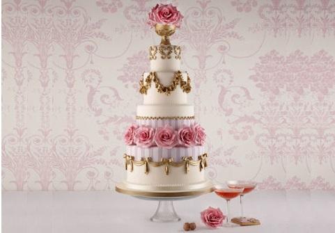 pedestal vase wedding cake baroque style by Zoe Clark for Fortnum & Mason