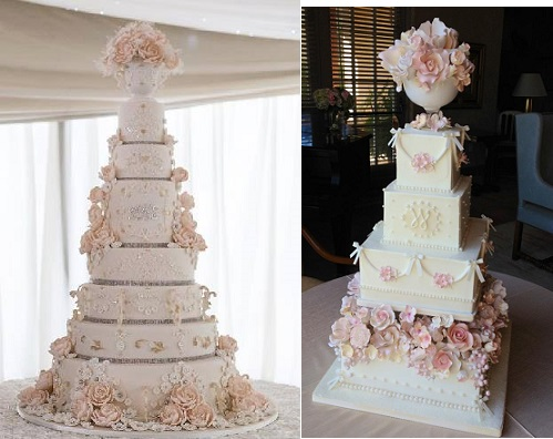 pedestal vase wedding cake by garrods wedding cakes left and via juxtapost right