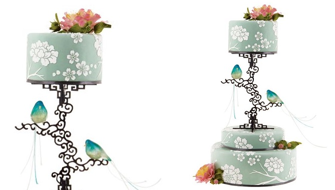 pedestal wedding cake chinoiserie pattern sage green from Brides .com