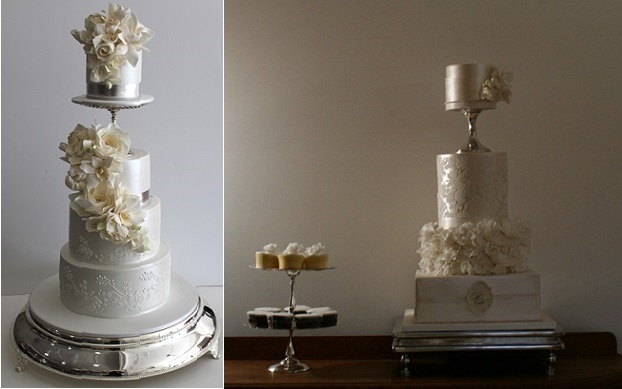 pedestal wedding cakes by Faye Cahill left and Cake Face right