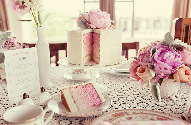 afternoon tea cake pink ombre cake by The Layered Bake Shop