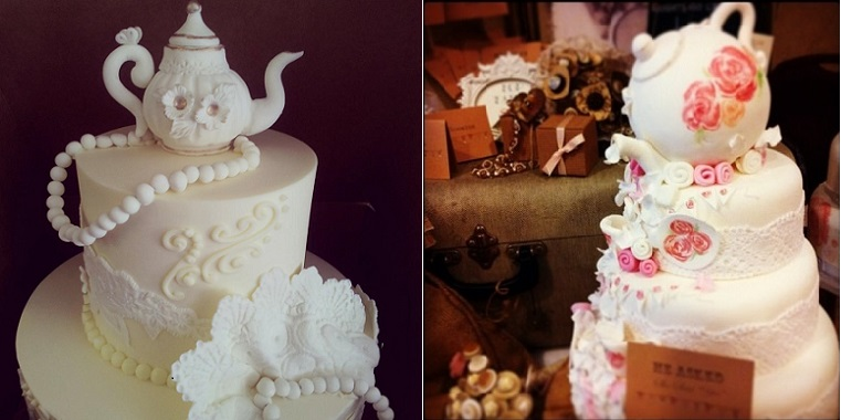 teapot cake by The Fabulous Cake Girls, San Diego left and via Cake Baker right