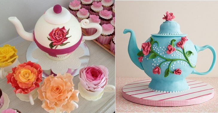 teapot cake tutorial by The Cake Girls right and teapot cake by Dessert Queen left