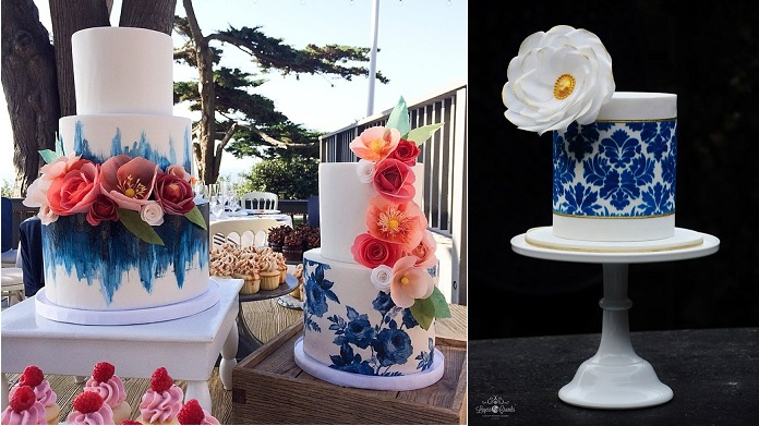 wafer paper flowers cakes blue  by Hey There Cupcakes left and Layers and Crumbs right