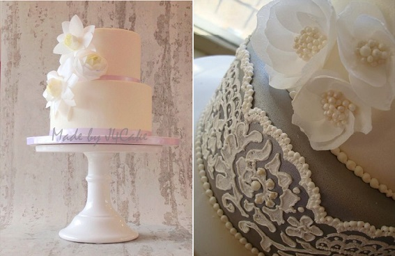 wafer paper flowers cakes by Made by J4 Cake left and Natalie Madison's Artisan Cakes right