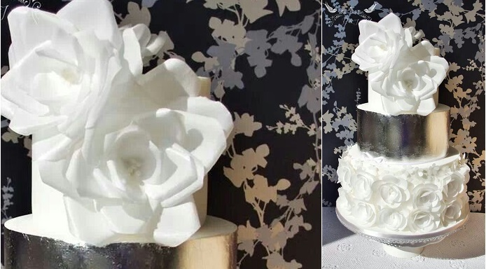wafer paper flowers silver metallic wedding cake by Romeo and Juliet Cakes