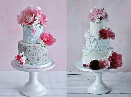 wafer paper flowers vintage cakes by Sweet Lake Cakes