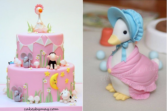 Beatrix Potter cakes Jemima Puddleduck by Cakes by May left and Cake Avenue right